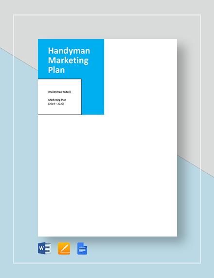 Handyman Marketing Plan Template