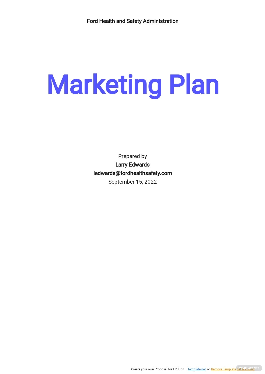 Health and Safety Marketing Plan Template.jpe