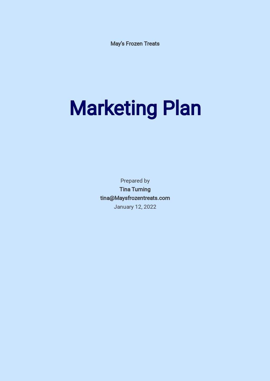 Ice cream Marketing Plan Template