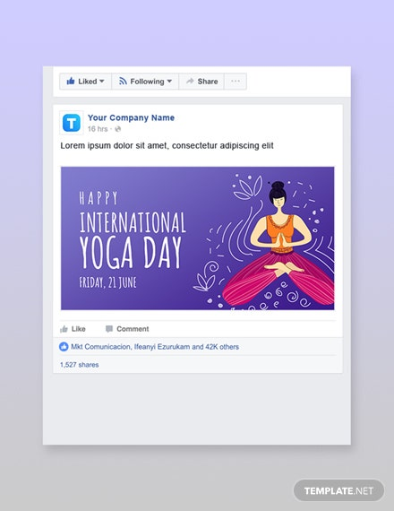 Free International Yoga Day Facebook Post Template