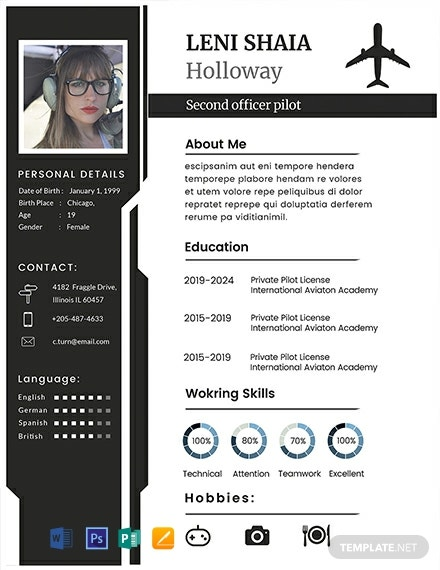 FREE Pilot CV Template - Word | PSD | InDesign | Apple Pages ...