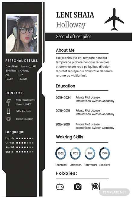 free pilot cv and resume template in adobe photoshop
