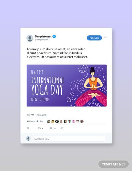 Free International Yoga Day Twitter Post Template