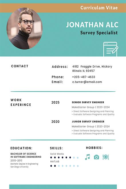 Free Surveyor CV Template