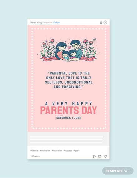 Free Parents Day Tumblr Post Template