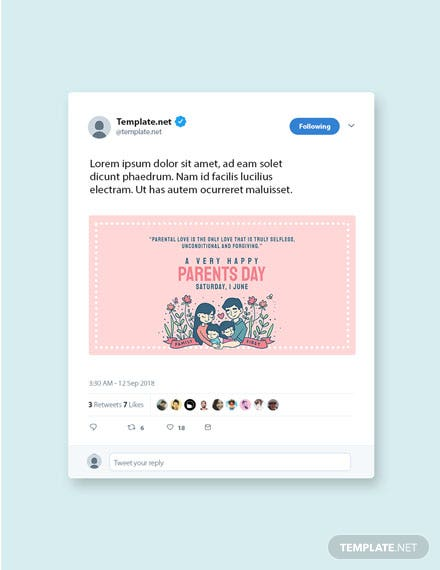 Free Parents Day Twitter Post Template