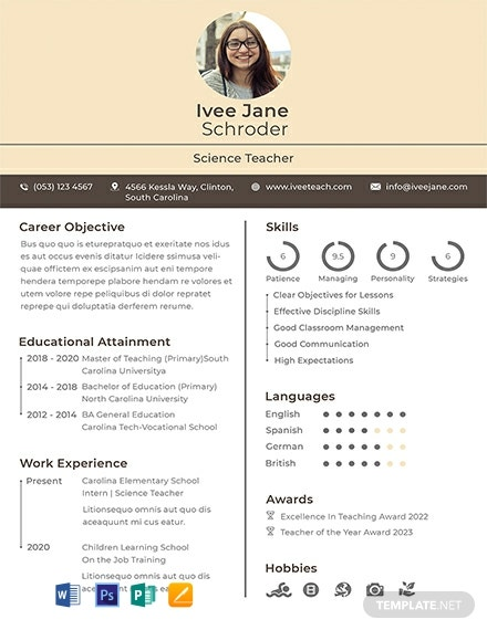 Fresher School Teacher Resume Format Template