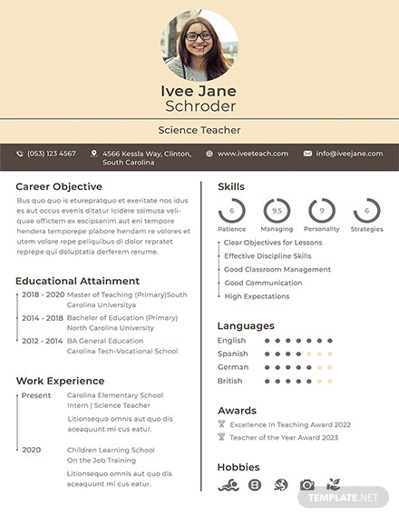 Free Fresher School Teacher Resume Format