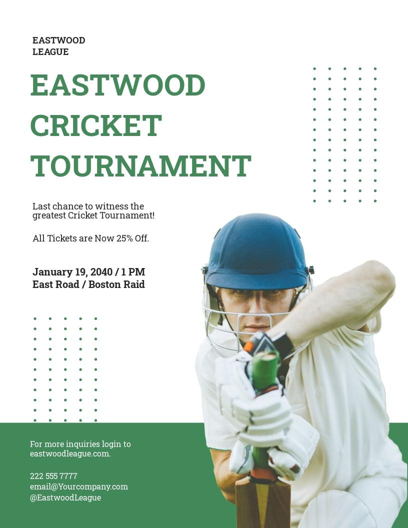 Cricket Tournament Flyer Template