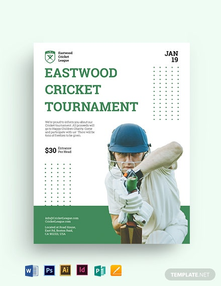 cricket tournament flyer template