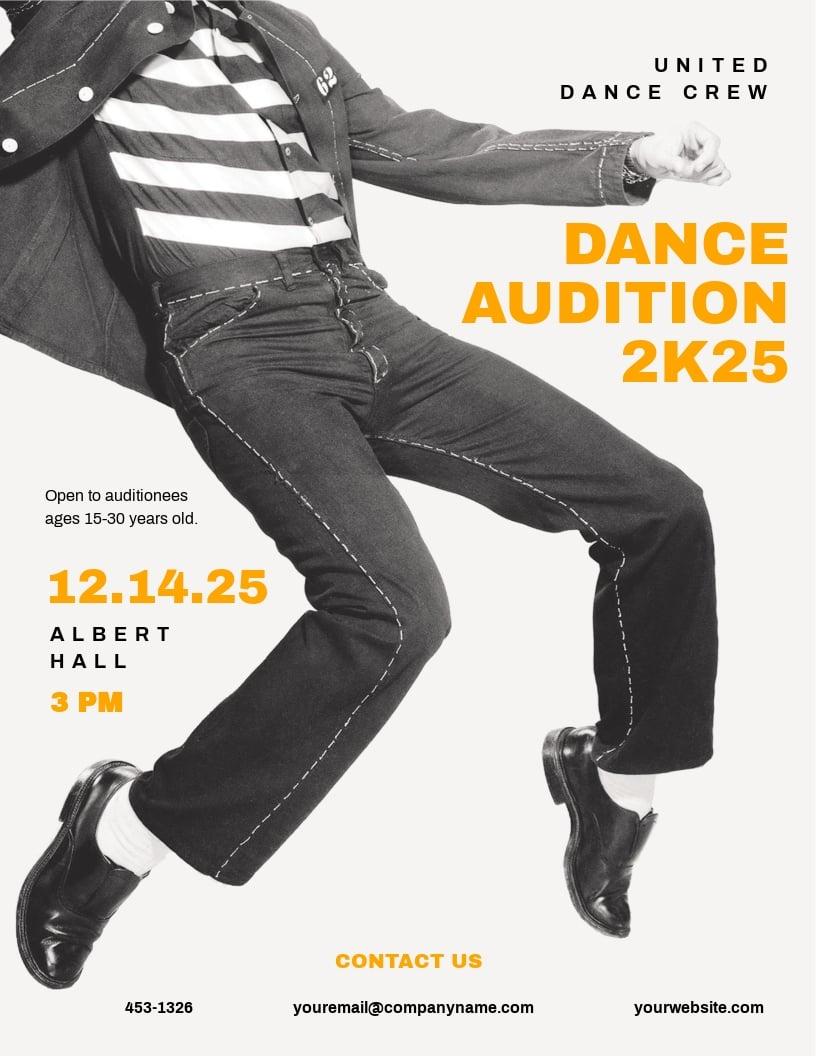 Dance Team Audition Flyer Template
