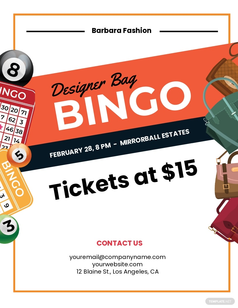 Designer Bag Bingo Flyer Template