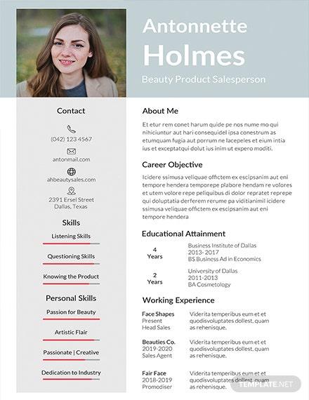 Free Salesperson Resume Template