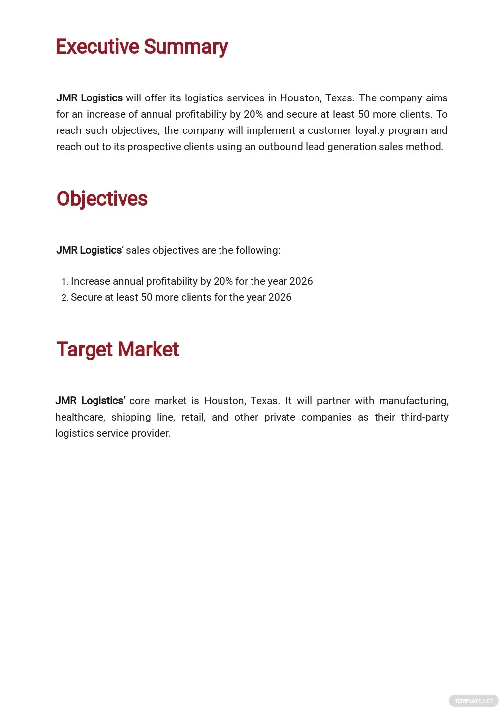 Logistics Sales Plan Template 1.jpe