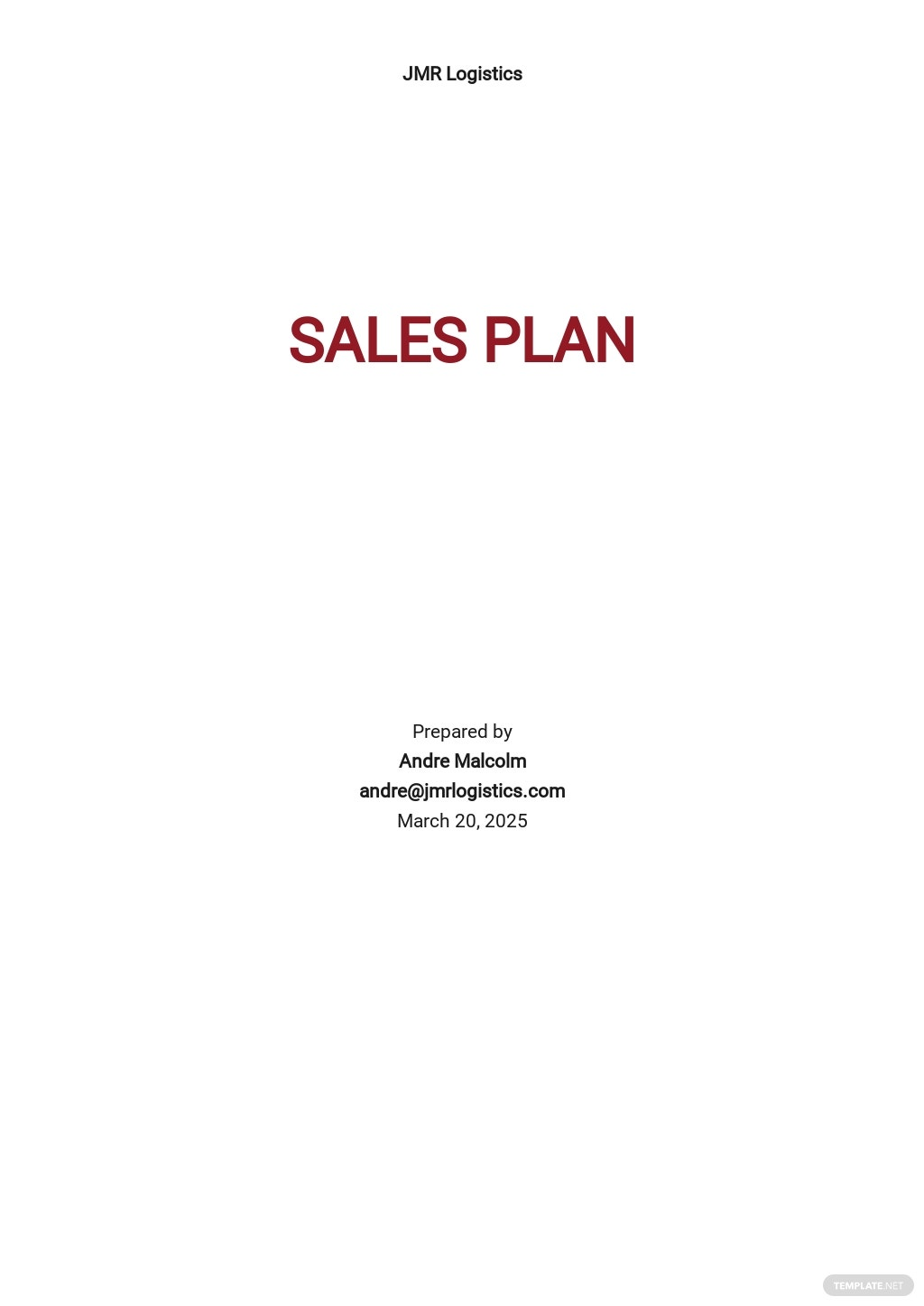 Logistics Sales Plan Template