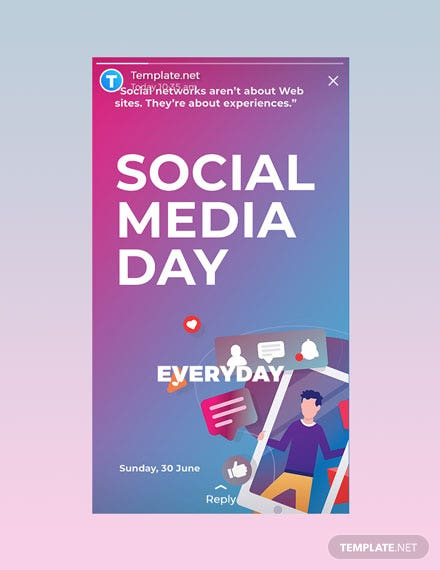 Free Social Media Day Whatsapp Image Template