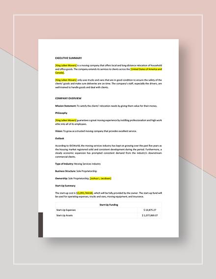 Moving Company Marketing Plan Download