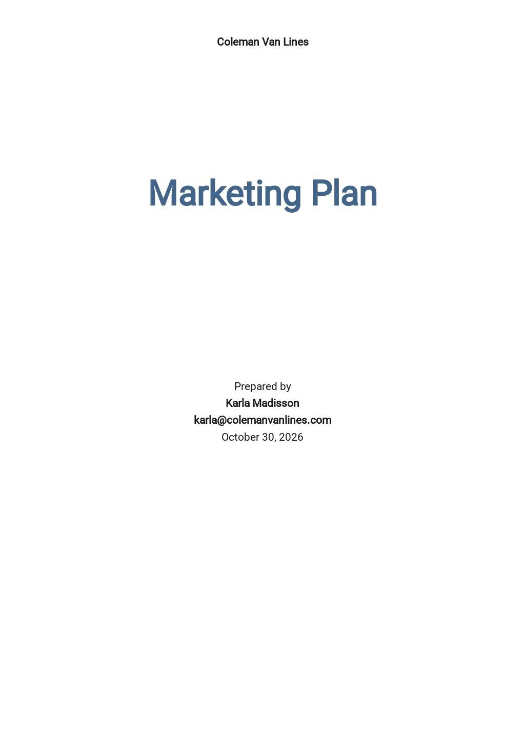 Moving Company Marketing Plan Template