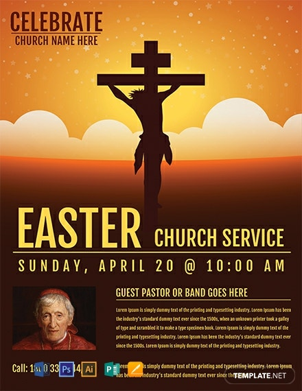 Free Easter Church Service Flyer Template
