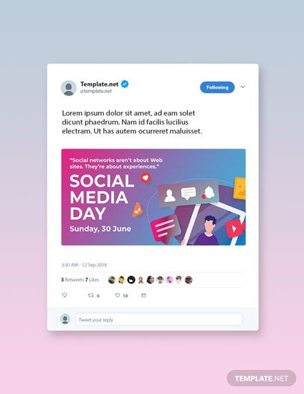 Free Social Media Day Twitter Post Template