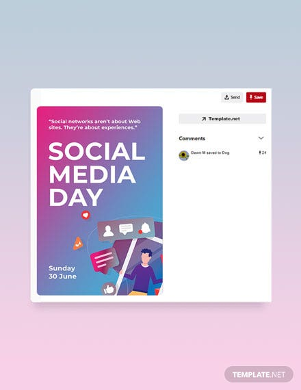 Free Social Media Day Pinterest Pin Template