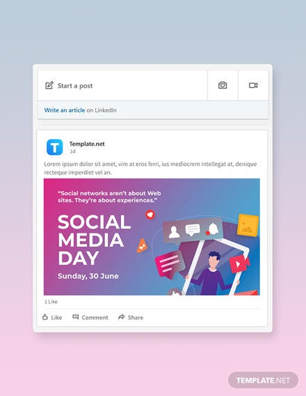 Free Social Media Day Linkedin Post Template