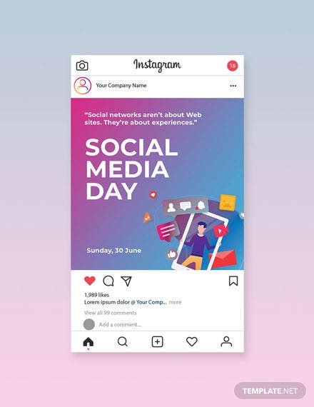 Free Social Media Day Instagram Post Template