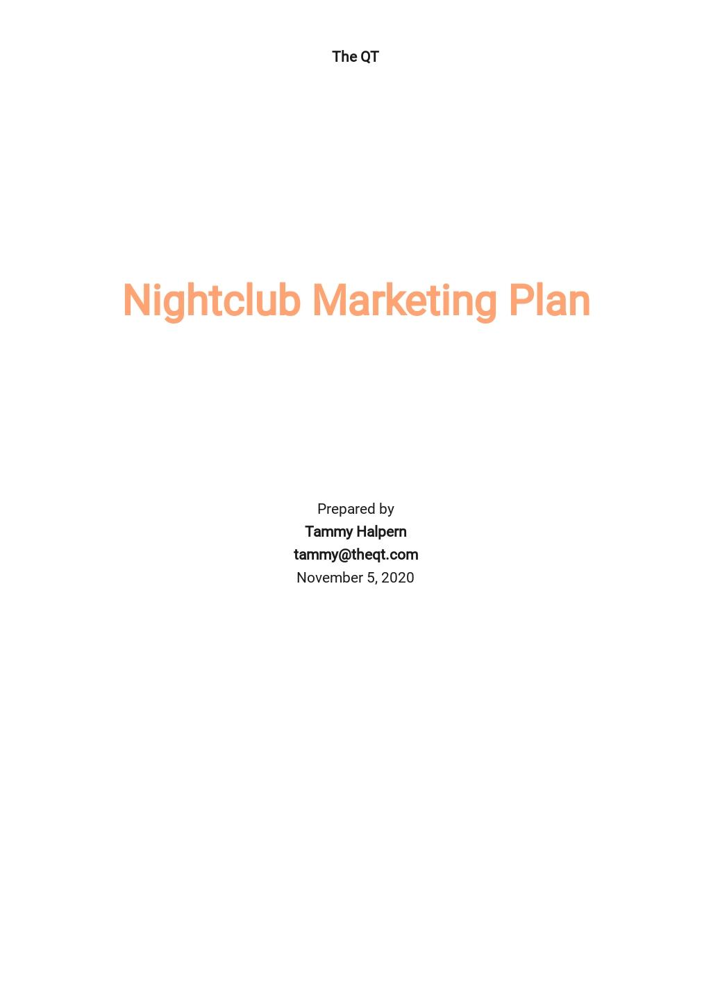 Nightclub Marketing Plan Template