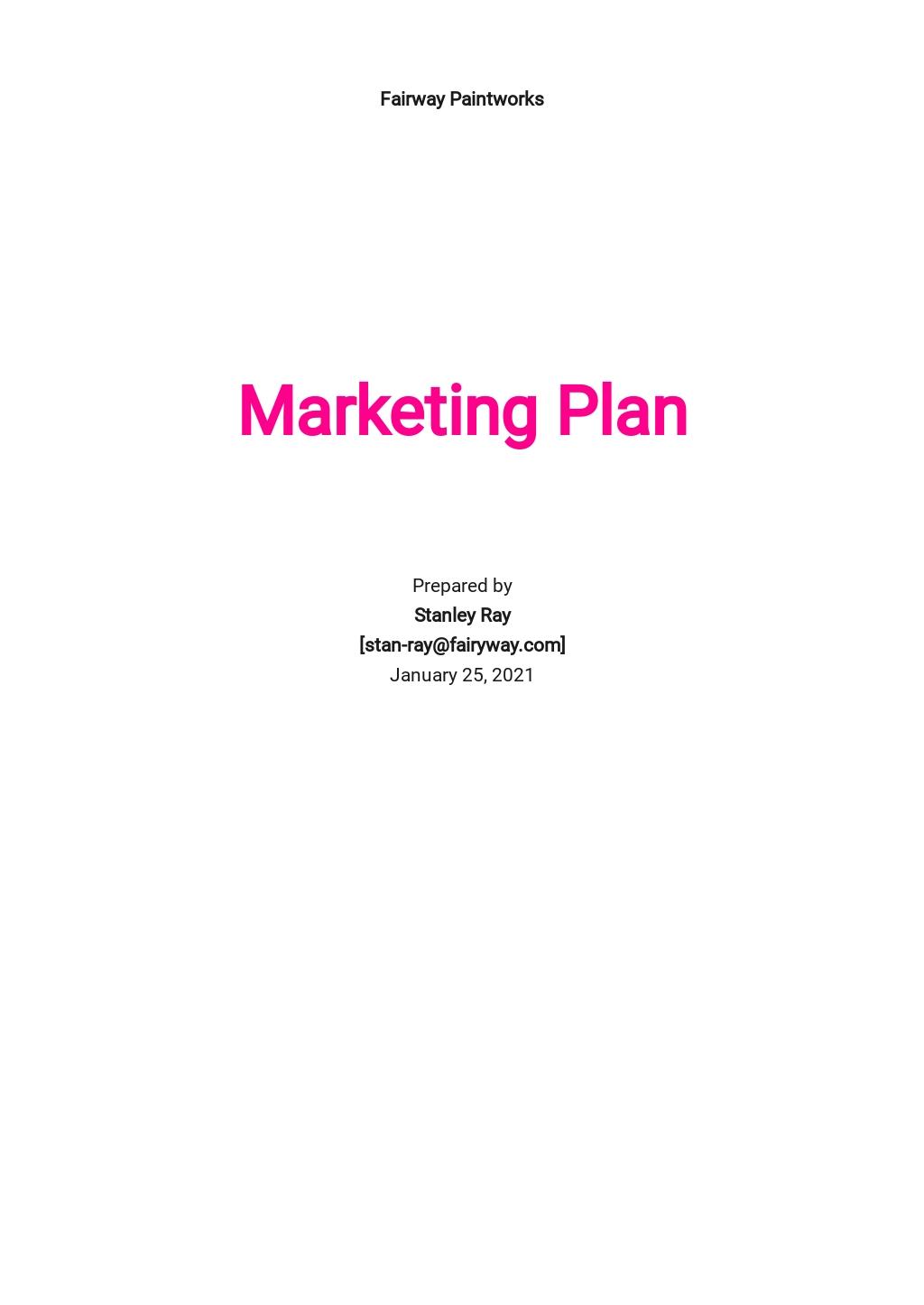 Painting Company Marketing Plan Template