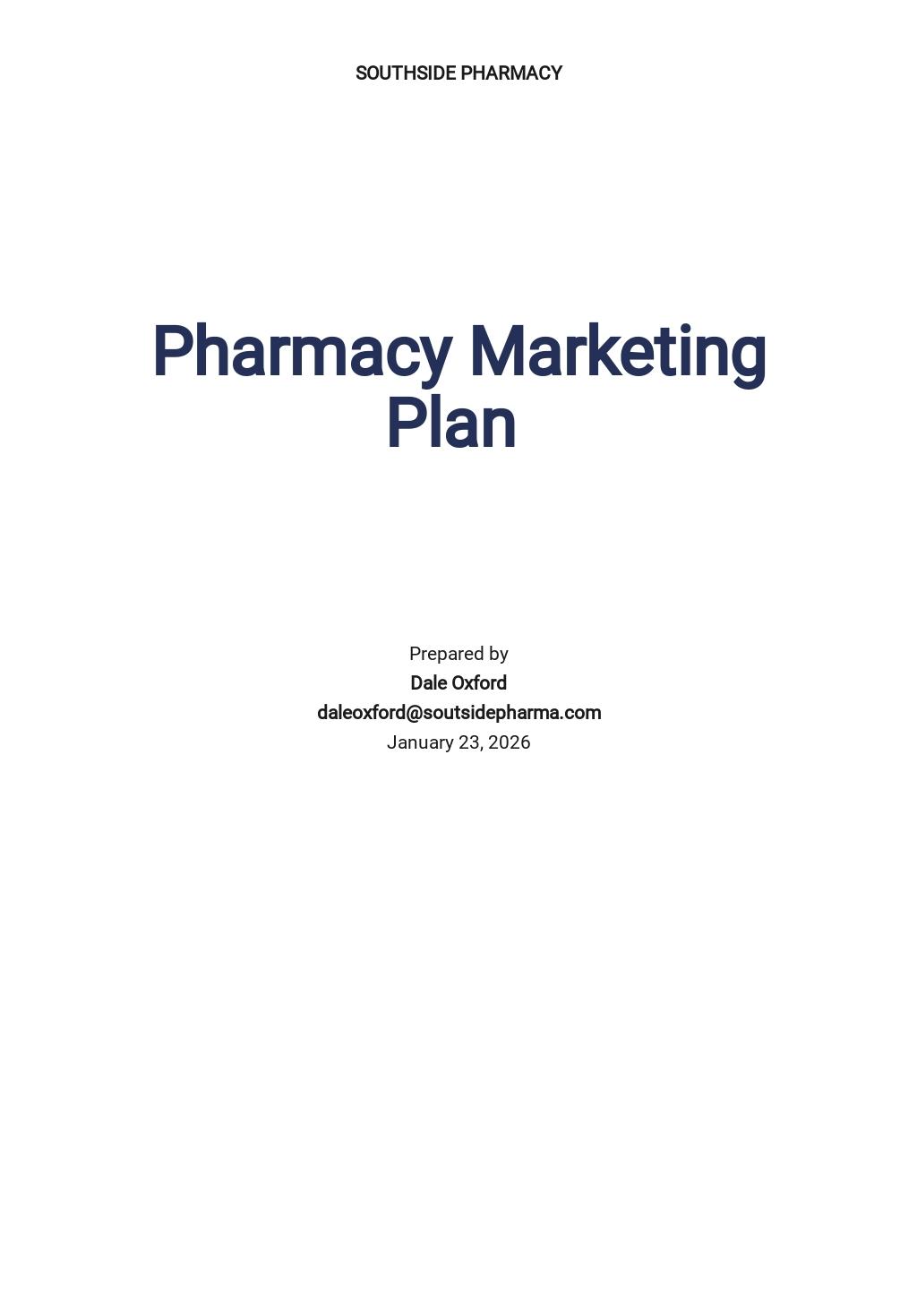 Pharmacy or Drug Store Marketing Plan Template