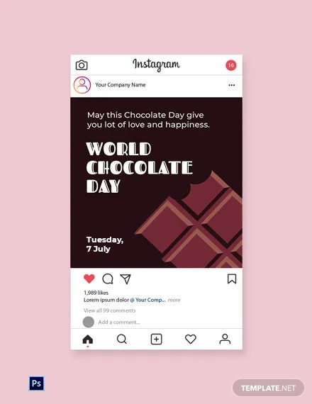 Free World Chocolate Day Instagram Post Template