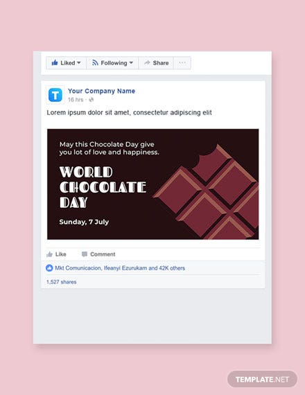 Free World Chocolate Day Facebook Post Template