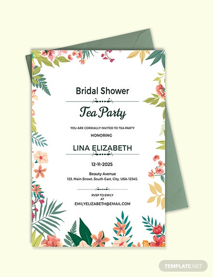 Tea Party Invitation Template | Free Bridal Shower Tea Party Invitation Template Download 344
