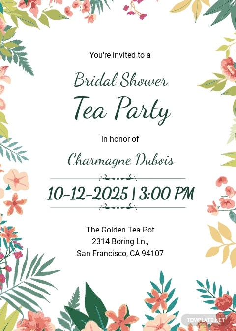 Bridal Shower Tea Party Invitation Template