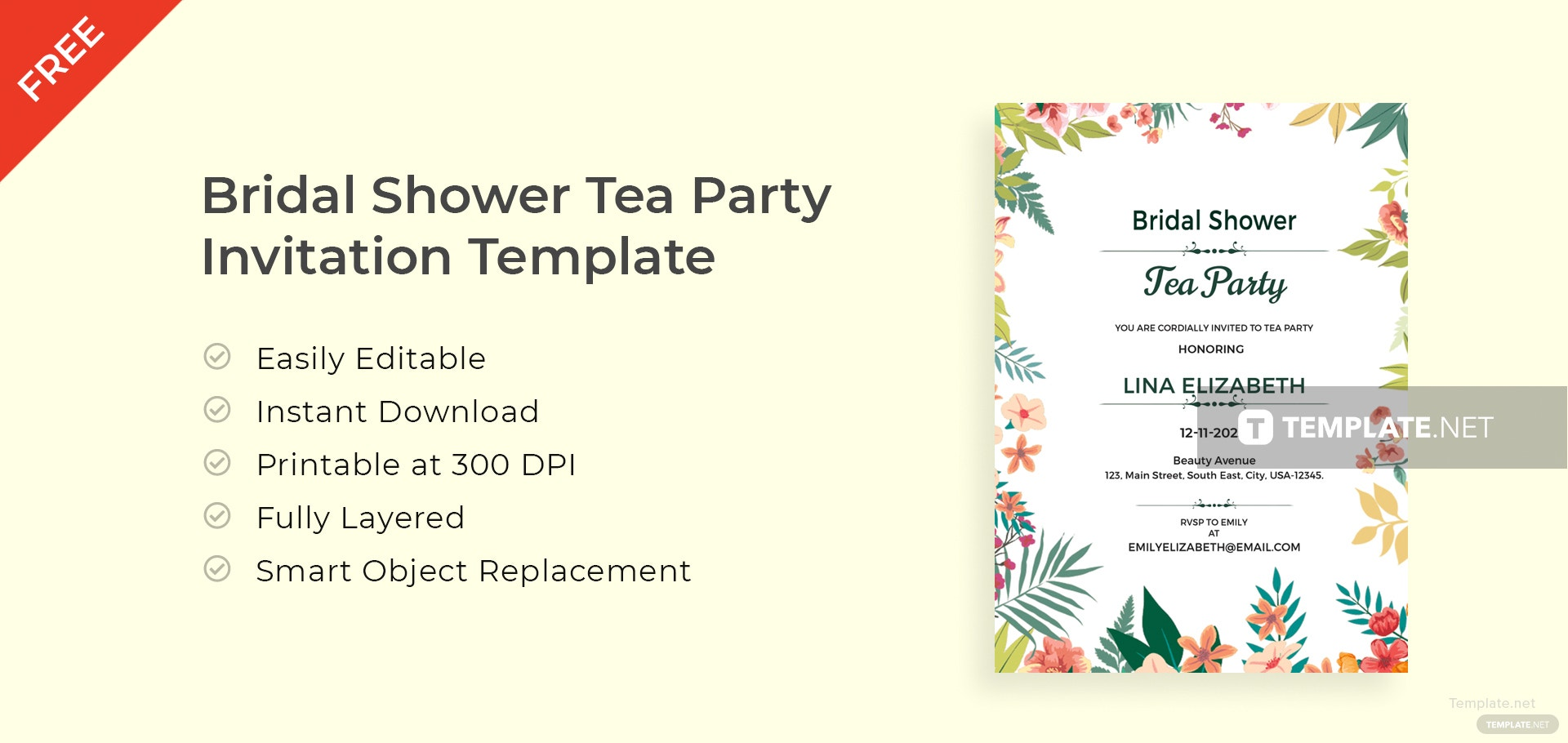 Free Bridal Shower Tea Party Invitation Template in Adobe Photoshop