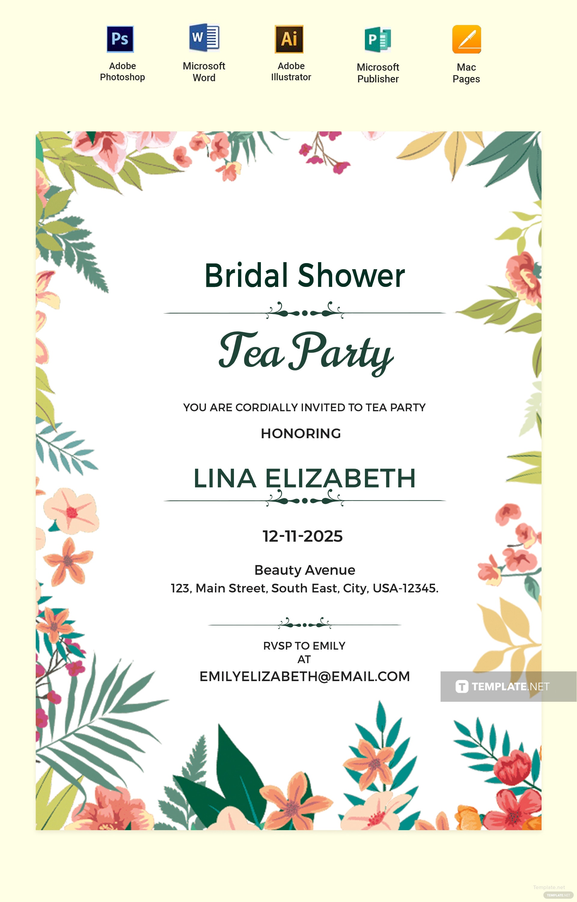 Bridal Shower Tea Party Invites BI17 Advancedmassagebysara