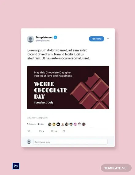 Free World Chocolate Day Twitter Post Template