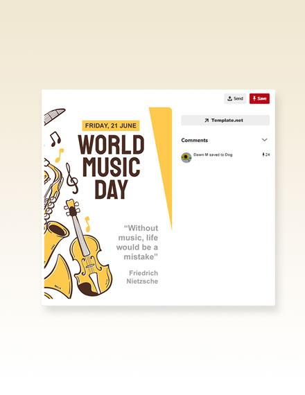 Free World Music Day Pinterest Pin Template