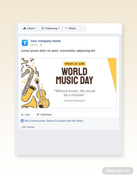 Free World Music Day Facebook Post Template