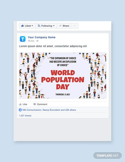 Free World Population Day Facebook Post Template