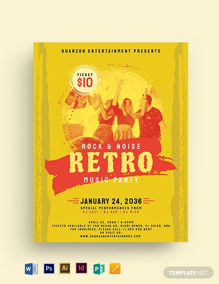 Grunge Retro Party Flyer Template
