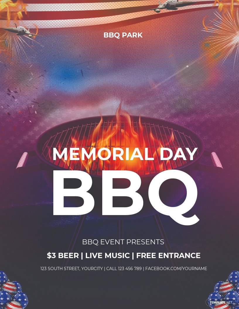 Free Memorial Day BBQ Flyer Template.jpe