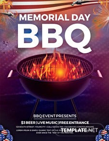 Free Memorial Day BBQ Flyer Template