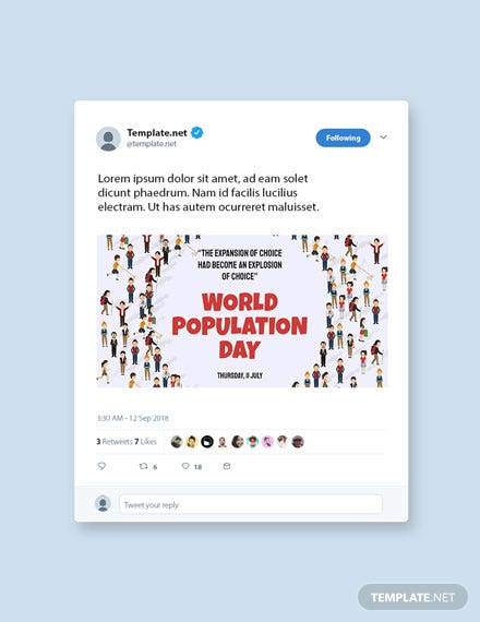 Free World Population Day Twitter Post Template