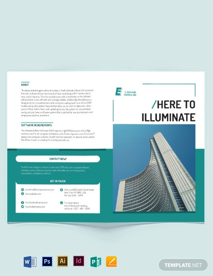 Software Developer Bi-fold Brochure Template