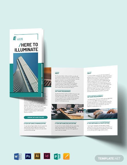Software Developer Tri-fold Brochure Template