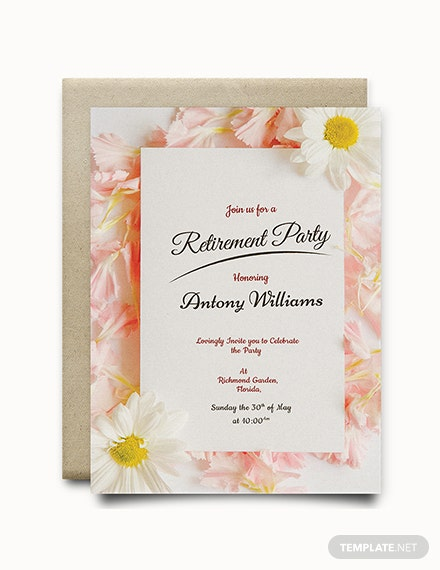 Free Floral Retirement Party Invitation Template