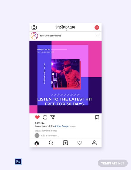 Free Music Studio App Promotion Instagram Post Template