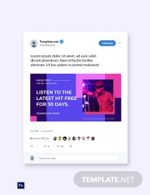 Free Music Studio App Promotion Twitter Post Template