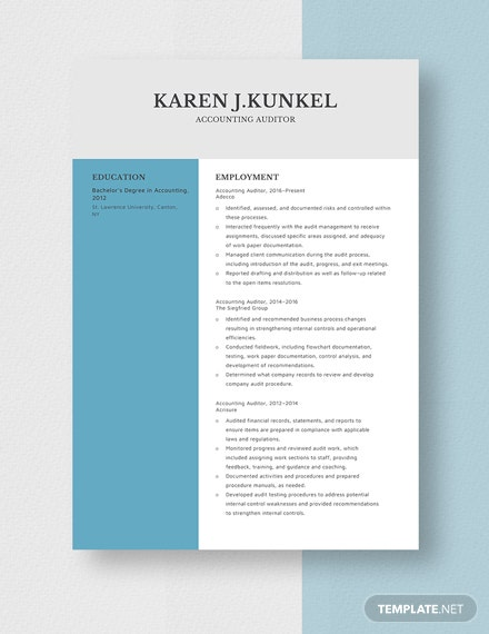 Accounting Auditor Resume Template